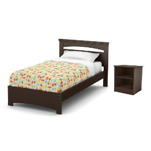 libra chocolate twin bed and nightstand