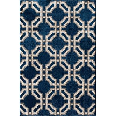 8 X 10 Large Sapphire Blue And White Indoor Outdoor Rug   Terrace