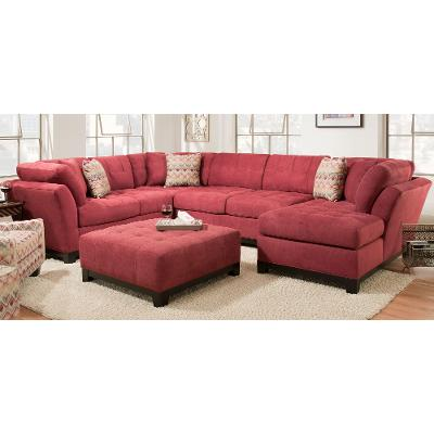 Casual Contemporary Red 3 Piece Sectional Sofa   Loxley
