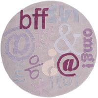 5' Round Texting Lilac Purple Area Rug - Hipster