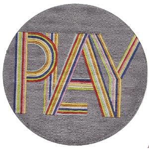 5 Round Gray Pink Play Area Rug