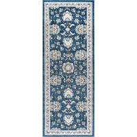 KNS1107 3x8 Navy Blue 7 Foot Runner Rug - Kensington
