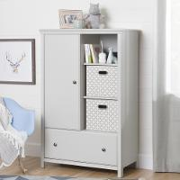 10469 Soft Gray Armoire with Drawer - Cotton Candy