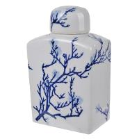 Blue and White Square Floral Lidded Jar