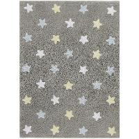 C-ST-B 4 x 5 Small Tricolor Stars Gray and Blue Washable Rug