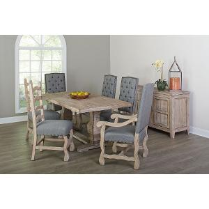 Gray And Barn Washed 5 Piece Dining Set With Ladder Back Chairs