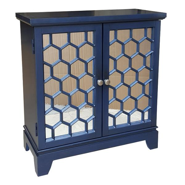 ... Clearance Blue Honeycomb 2 Door Mirrored Cabinet