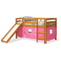 Twin Honey and Pink Tent Bed with Slide - Pine Ridge