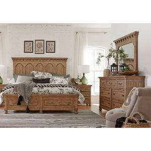 Clearance Wheat Pine Rustic Traditional 6 Piece King Bedroom Set   Graham  Hill
