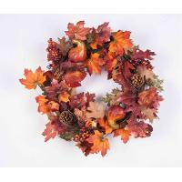 24 Inch Fall Wreath with Leaves, Pine Cones, Berries and Gourds