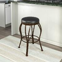 Metal / Brown Bonded Leather Bar Stool - Jericho