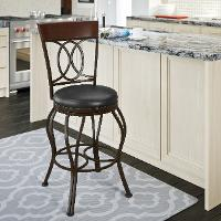 Metal/ Brown Bonded Leather Counter Height Stool - Jericho