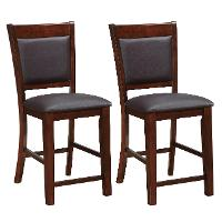 Brown Bonded Leather Counterstool Pair