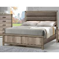 Rustic Contemporary Antiqued White Queen Upholstered Bed - Matteo