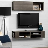 11245 Charcoal Wall Mounted Brown TV Stand and Storage Unit (48 Inch) - City Life