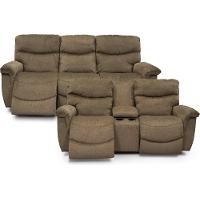 KIT Java Brown Power Full Reclining Sofa & Console Loveseat - James