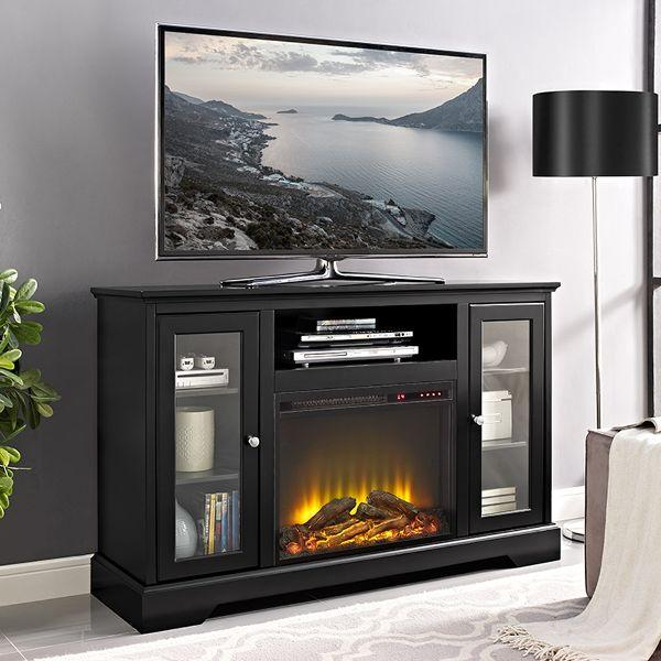... 52 Inch Black Highboy TV Stand With Fireplace