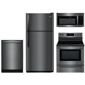 ... KIT Frigidaire Black Stainless Steel 4 Piece Kitchen Appliance Package  With Electric Range ...