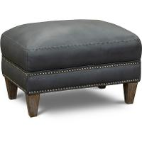 Classic Modern Sky Blue Leather Ottoman - Luxe