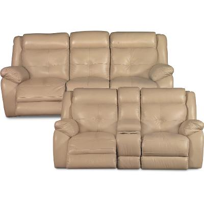 Tan Leather-Match Power Reclining Sofa u0026 Manual Gliding Loveseat - Nuveau  sc 1 st  RC Willey : gliding loveseat recliner - islam-shia.org