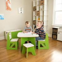 KT2C001-GRN_WHT Green Kids Table and 2 Chairs - Play Room/Kids