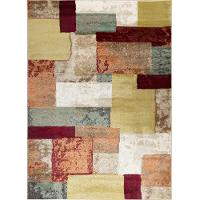 DCO1027 5x8 5 x 7 Medium Teal Blue, Taupe & Red Area Rug - Deco